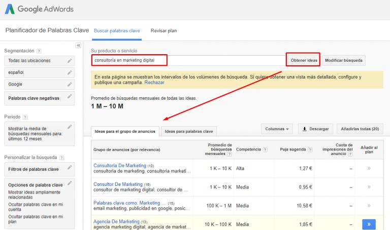 Guía para primera campaña de Google Adwords